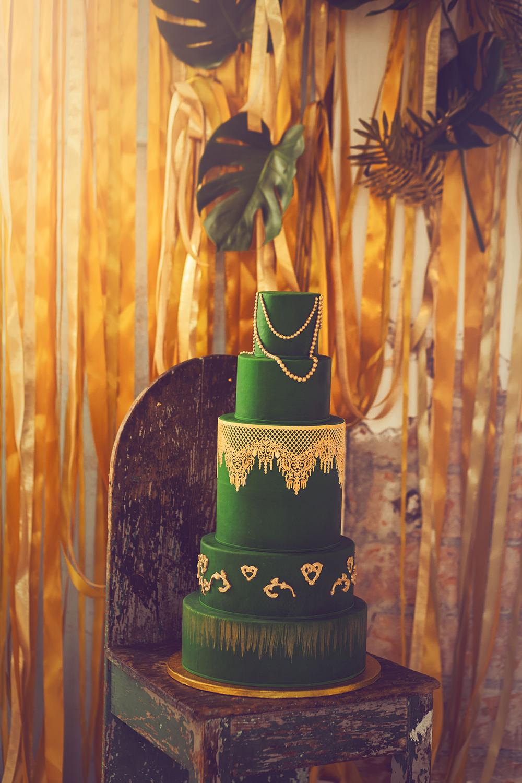 zielony tort slubny
